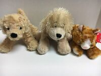 Lot Of 3 Plush Stuffed Animals 2 Dogs & 1 Cat 7""