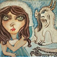 Princess Artic Baby Cloud Dragon Original Acrylic Painting 8 x 8 KSams Big Eye