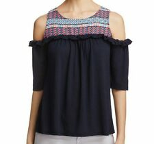 NWT Love Scarlett George Yoke Cold Shoulder Ruffle Women Top Navy Small $68