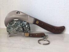 Couteau de poche Serpette avec manche en bois de palissandre avec son porte clé.