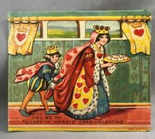 Queen of Hearts Die Cut Stand Up Valentine Antique Original Germany