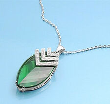 Emerald Cubic Zirconia Necklace Sterling Silver 925 Pendant & Chain Jewelry