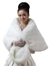 New Bridal Ivory Long Faux Fur Bolero Shawl Shrug One Size