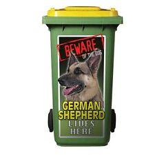 GERMAN SHEPHERD  DOG WHEELIE BIN STICKER 240 Litre bin