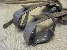 Vintage Cast Iron & Leather Tree Pole Climbing Spikes Shoes > Old Antique 8387