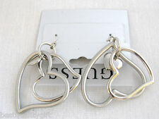 NEW GUESS BRUSHED SILVER TONE MULTI HEARTS CHARM w/ LOGO EARRING