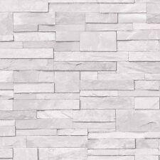 Grandeco Wallpaper - Realistic Stone / Brick Wall Effect - Grey / White - A17201