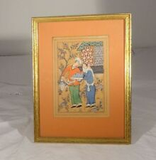 Antique Watercolor Indian Persian Turkish Painting Courting Couple Framed