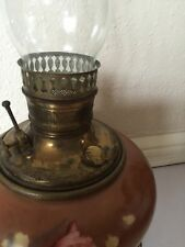 VINTAGE ANTIQUE GONE WITH THE WIND OIL HURRICAN GLASS LAMP CAST ORNATE STAND