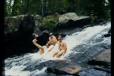 Original Gay interest photo slide, Young guys frolicking at waterfall, c1990s