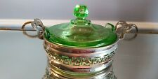 VINTAGE GREEN DEPRESSION GLASS LID CANDY DISH METAL HOLDER  PROBLEM FREE