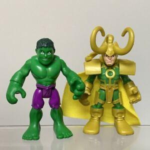 Avengers Playskool Marvel Super Hero Adventures Loki & Green Hulk Figures Toy