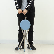 200KG Portable Walking Chair Stick With Seat Outdoor Cane Folding Tripod Stool