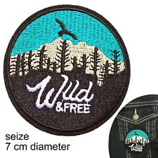 Wild & free iron on patch camping outdoors camper bush scout iron-on patches