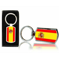 Spain Country Flag Printed Chrome Metal Keyring With Free Gift Box 0165