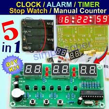 5in1 DIY Kit 6 Digit Digital LED Timer Alarm Electronic Clock Parts AT89C2051