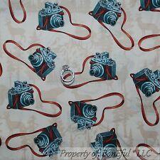 BonEful Fabric FQ Cotton Quilt B&W Old VTG Camera Scenic Cabin L Deer Bear Toile