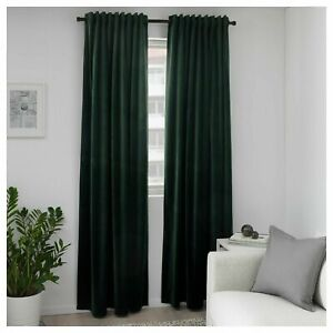 "Ikea SANELA Velvet Curtains Room Darkening, 2 Panels / Pair Dark Green 55"" x 98"""