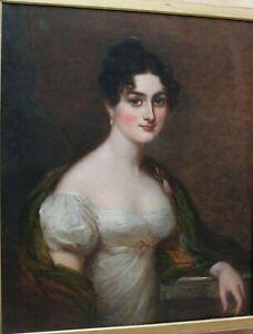 """Grand tableau ancien HST """"Portrait de jeune femme"""" Anonyme"""