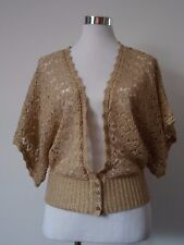 Dorothy Perkins Gold Open Knit V Front Cardigan Size 12 Pre Loved Party Coverup