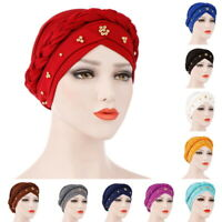 Pearl Muslim Braid Head Wrap For Women Fashion Ladies Muslim Hijab Chemo Hat USA