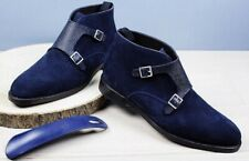 Handmade Men's Blue Leather & Suede Boots, Men Double Monk Strap Dress Boots