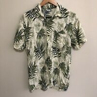 Leaves Floral Vintage 90's Hawaiian Style Button-Front Shirt Mens Large