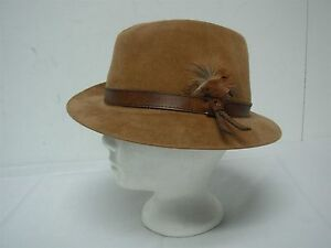 VTG STETSON THE SOVEREIGN TAN WOOL FELT MENS FEDORA HAT LEATHER & FEATHER 7 3/8