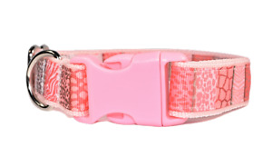 Animal print patchwork Peach dog puppy collar for girl dogs small medium