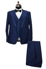 Hombre Azul Trajes de Diseño Boda Novios Cena (Chaqueta+Chaleco+Pantalones)
