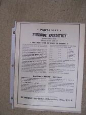 1941 Evinrude Speeditwin 6039 6041 Outboard Motor Parts List MORE IN OUR STORE S