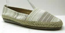 Aerosoles Neutral Beige Striped Fabric Wedge Espadrille Loafers Heels Shoes 7.5