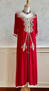 NEW - Red Gold Embroidered Indian Smock Goa Cotton Kaftan Maxi Tunic Dress Med
