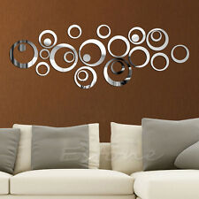 Circles Mirror Style Removable Decal Vinyl Art Mural Wall Sticker Home Decor New
