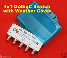 WEATHERPROOF 4X1 DISEQC SWITCH SATELLITE LNBF DISH FOR FTA RECEIVER LNB NEW