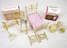 Vintage Lot 9 Dollhouse Miniature Furniture Brass Bed Mirror Tables Crib Chairs