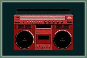 Boombox Red Pop Art Print inch Poster 24x36 inch