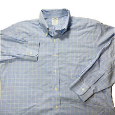 Mens Brooks Brothers Long Sleeve Button Front Dress Shirt Blue Size Large 16/33