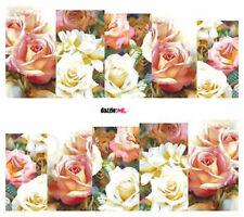 Nail Art de transferencia de agua Pegatina Flores rosas Rosa Blanco calcomanías (DC194)