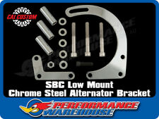 SBC CHROME LOW MOUNT ALTERNATOR BRACKET SHORT WATER PUMP SWP STREET HOT RAT ROD