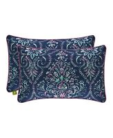 "J Queen New York Kayani Indigo King Pillow ONE Sham With Zipper Closure 20""x36"""