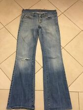 Wmns 7 For All Mankind Flare Low Rise Blue Distressed Jeans Sz 27