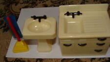 New ListingVintage Renwal Dollhouse furniture- kitchen-bathroom sink-vacuum -fits ideal