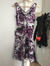 Marks and Spencer Size 10 Linen Blend Purple Floral Dress (box 23)
