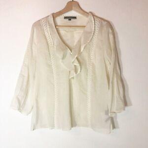 Love Stitch boho Ivory color, lace Detail top 100% Cotton  Women's Size Large