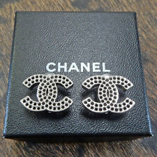 CHANEL Silver Plated CC Logos Vintage Clip Earrings #5613a Rise-on