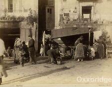 ALBUMEN PHOTO Peasants People Street Scene NAPLES ITALY Napoli 1880 Bazaar Shops