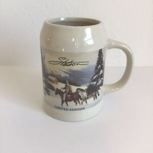 Stetson Limited Edition Stein Beer Coffee Mug Cowboy Winter Horses Western Cabin