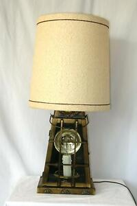 Large NAUTICAL Vintage BRASS LANTERN LAMP w/ CANDLE FLAME NIGHTLIGHT