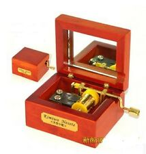Red Wood Hand Crank Gold Movement Mirror Music Box  : Canon in D
